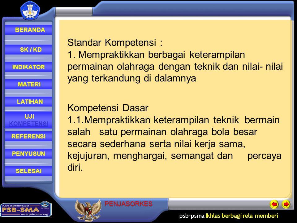 psb-psma Ikhlas berbagi rela memberi REFERENSI LATIHAN MATERI PENYUSUN INDIKATOR SK / KD UJI KOMPETENSI BERANDA SELESAIPENJASORKES Standar Kompetensi : 1.