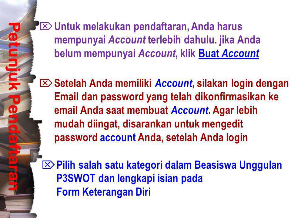Pendaftaran Petunjuk Pendaftaran  Untuk melakukan pendaftaran, Anda harus mempunyai Account terlebih dahulu. jika Anda belum mempunyai Account, klik