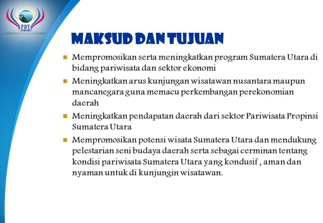 MAKSUD DAN TUJUAN  Mempromosikan serta meningkatkan program Sumatera Utara di bidang pariwisata dan sektor ekonomi  Meningkatkan arus kunjungan wisa