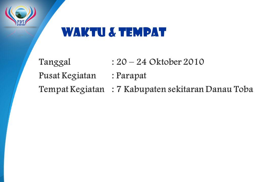 WAKTU & TEMPAT Tanggal: 20 – 24 Oktober 2010 Pusat Kegiatan: Parapat Tempat Kegiatan : 7 Kabupaten sekitaran Danau Toba