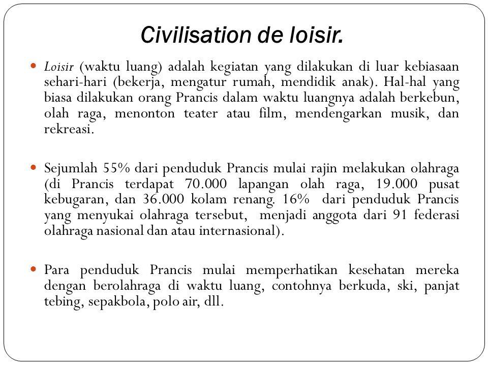 Civilisation de loisir.  Loisir (waktu luang) adalah kegiatan yang dilakukan di luar kebiasaan sehari-hari (bekerja, mengatur rumah, mendidik anak).
