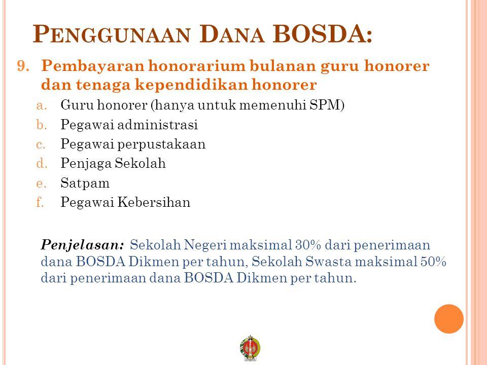 P ENGGUNAAN D ANA BOSDA: 9.Pembayaran honorarium bulanan guru honorer dan tenaga kependidikan honorer a.Guru honorer (hanya untuk memenuhi SPM) b.Pega