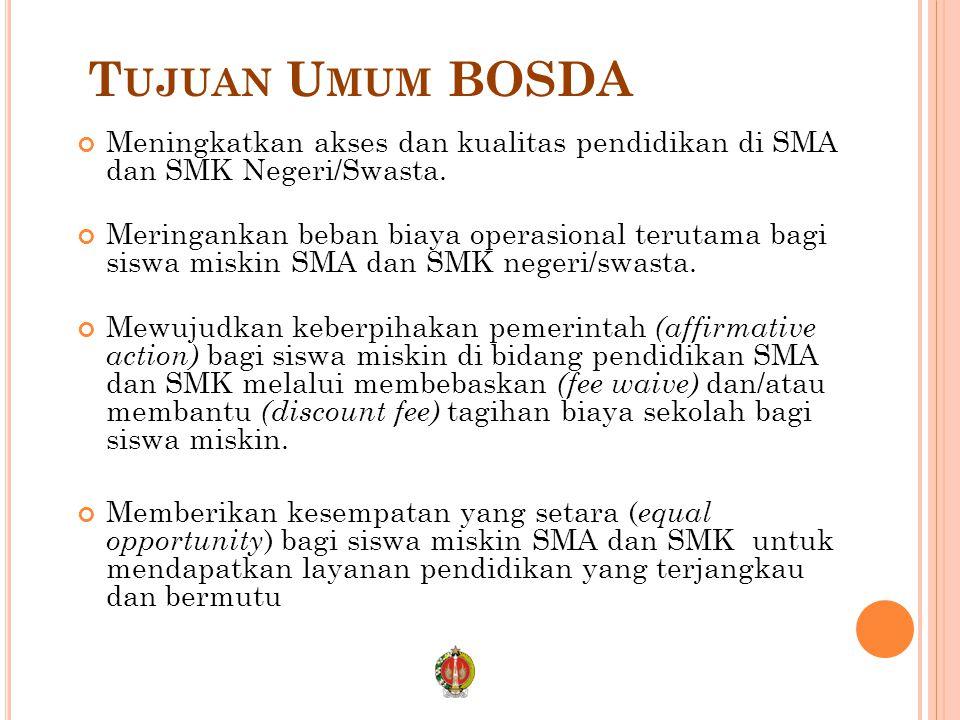 T UJUAN U MUM BOSDA Meningkatkan akses dan kualitas pendidikan di SMA dan SMK Negeri/Swasta.