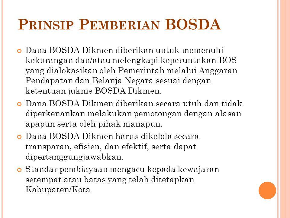 P RINSIP P EMBERIAN BOSDA Dana BOSDA Dikmen diberikan untuk memenuhi kekurangan dan/atau melengkapi keperuntukan BOS yang dialokasikan oleh Pemerintah melalui Anggaran Pendapatan dan Belanja Negara sesuai dengan ketentuan juknis BOSDA Dikmen.