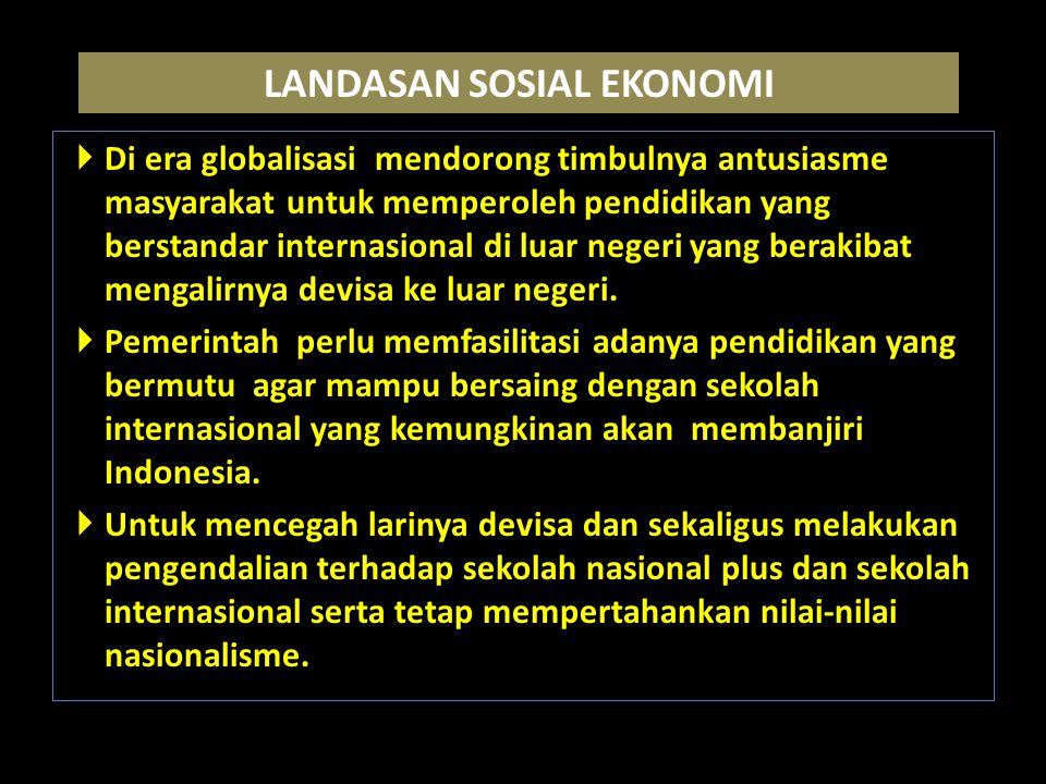 LANDASAN SOSIAL EKONOMI  Di era globalisasi mendorong timbulnya antusiasme masyarakat untuk memperoleh pendidikan yang berstandar internasional di luar negeri yang berakibat mengalirnya devisa ke luar negeri.