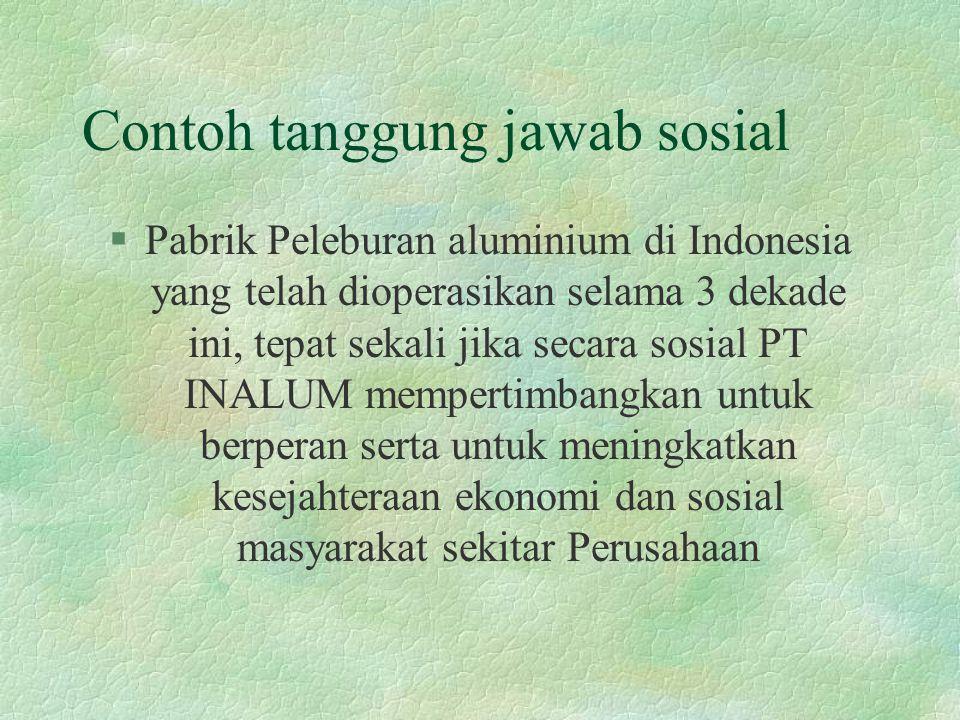 Contoh tanggung jawab sosial §Pabrik Peleburan aluminium di Indonesia yang telah dioperasikan selama 3 dekade ini, tepat sekali jika secara sosial PT