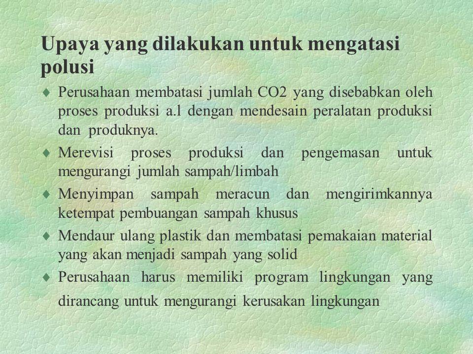 Upaya yang dilakukan untuk mengatasi polusi  Perusahaan membatasi jumlah CO2 yang disebabkan oleh proses produksi a.l dengan mendesain peralatan prod
