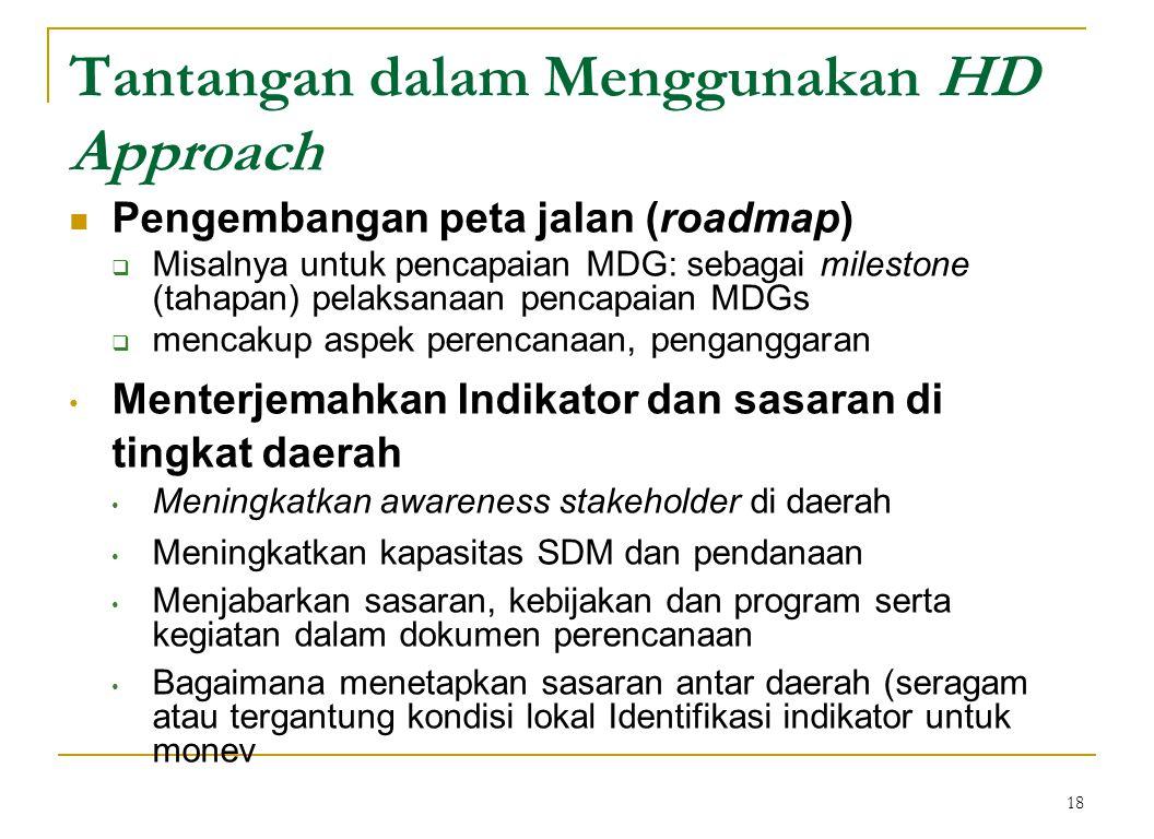 18 Tantangan dalam Menggunakan HD Approach  Pengembangan peta jalan (roadmap)  Misalnya untuk pencapaian MDG: sebagai milestone (tahapan) pelaksanaan pencapaian MDGs  mencakup aspek perencanaan, penganggaran • Menterjemahkan Indikator dan sasaran di tingkat daerah • Meningkatkan awareness stakeholder di daerah • Meningkatkan kapasitas SDM dan pendanaan • Menjabarkan sasaran, kebijakan dan program serta kegiatan dalam dokumen perencanaan • Bagaimana menetapkan sasaran antar daerah (seragam atau tergantung kondisi lokal Identifikasi indikator untuk monev