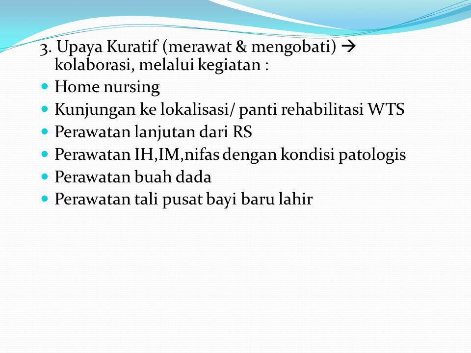 3. Upaya Kuratif (merawat & mengobati)  kolaborasi, melalui kegiatan :  Home nursing  Kunjungan ke lokalisasi/ panti rehabilitasi WTS  Perawatan l