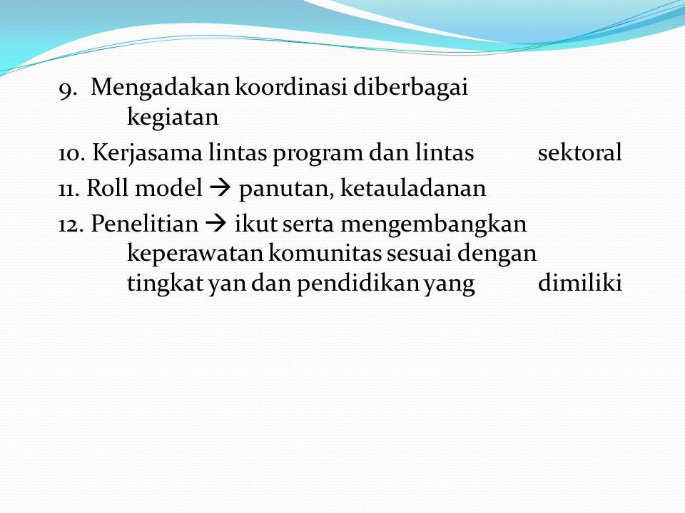 9. Mengadakan koordinasi diberbagai kegiatan 10. Kerjasama lintas program dan lintas sektoral 11. Roll model  panutan, ketauladanan 12. Penelitian 