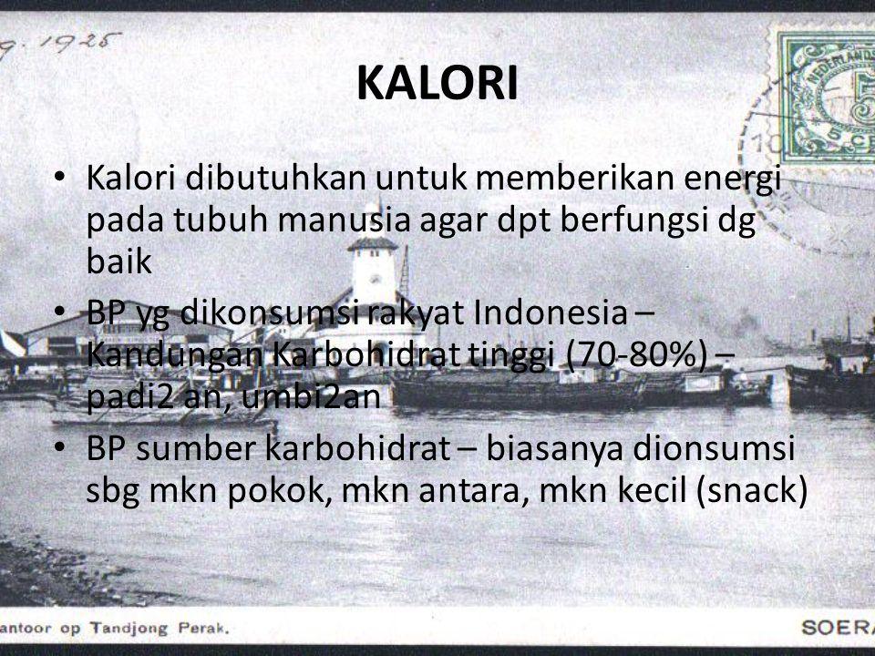Susunan konsumsi pangan rakyat Indonesia • Padi2an 69% • Umbi2an 10% • Kacang2an, biji2an6% • Buah2an,sayur2an2% • Gula & situp1% • Pangan hewani 5% • Lemak & minyak 5% • Bahan pangan lain2% 100% Angka Energi (nilai kal/g) • Lemak 1 g = 9 kalori • Karbohidrat1 g = 4 kalori • Protein1 g = 4 kalori • Alkohol1 g = 7 kalori