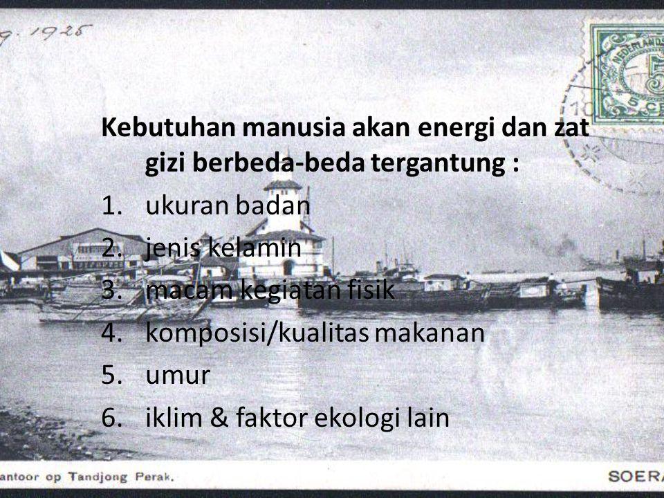 Kebutuhan energi total manusia Hukum Konservasi Tenaga : Produksi energi total dalam tubuh = energi dlm mkn – energi dlm ekskreta & energi untuk pertumbuhan) Produksi energi total dalam tubuh berfungsi : 1.Melakukan kerja internal (Basal Metabolisme) 2.Melakukan kerja eksternal 3.Menutup pengaruh makanan/SDA (Specific Dynamic Action)
