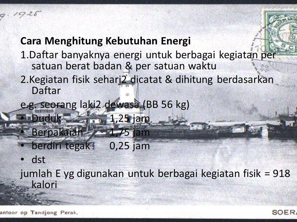 Cara Menghitung Kebutuhan Energi 1.Daftar banyaknya energi untuk berbagai kegiatan per satuan berat badan & per satuan waktu 2.Kegiatan fisik sehari2