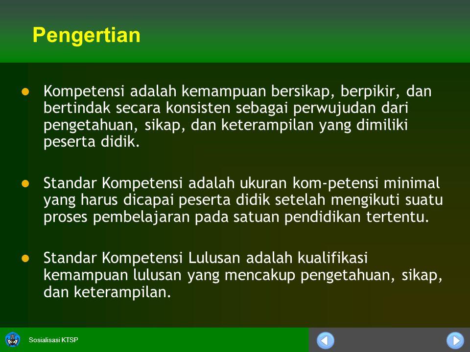 Sosialisasi KTSP Fungsi Standar Kompetensi Lulusan (SKL)   Standar kompetensi lulusan digunakan sebagai pedoman penilaian dalam penentuan kelulusan peserta didik dari satuan pendidikan.