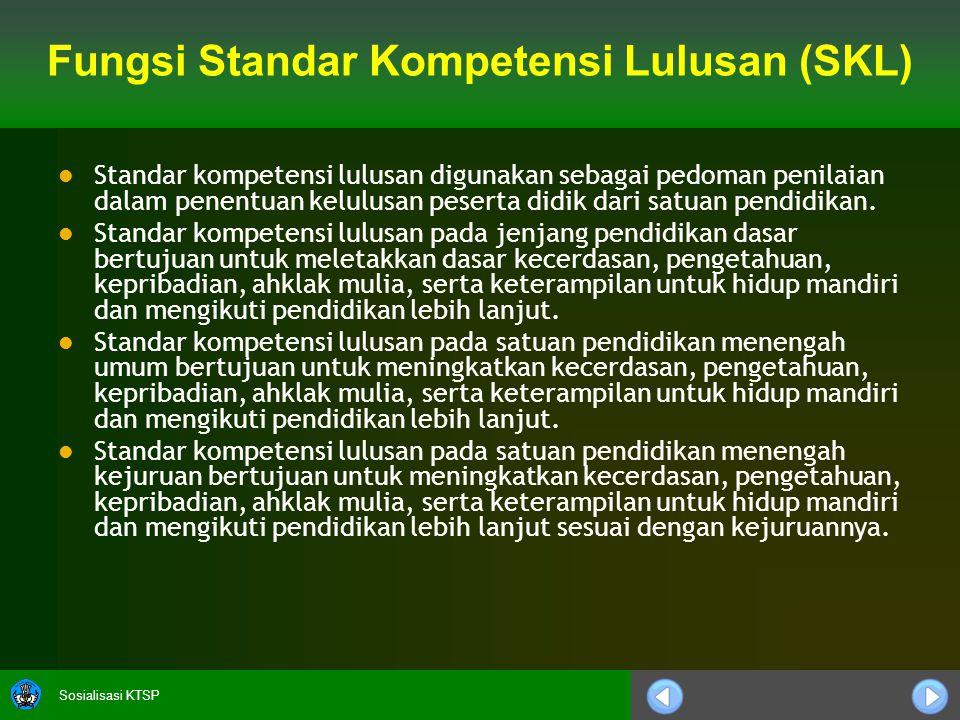 Sosialisasi KTSP Fungsi Standar Kompetensi Lulusan (SKL)   Standar kompetensi lulusan digunakan sebagai pedoman penilaian dalam penentuan kelulusan