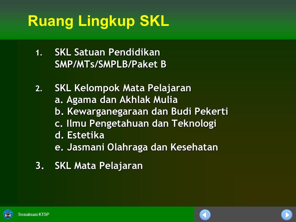 Sosialisasi KTSP 1. SKL Satuan Pendidikan SMP/MTs/SMPLB/Paket B 2.