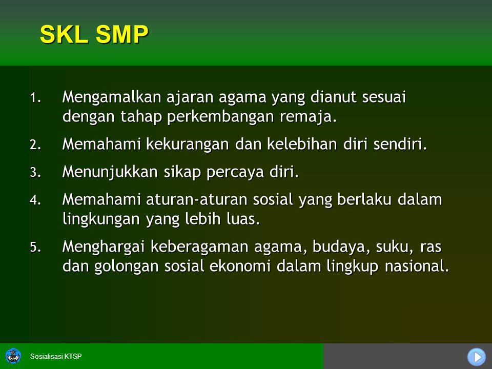 Sosialisasi KTSP SKL SMP 1. Mengamalkan ajaran agama yang dianut sesuai dengan tahap perkembangan remaja. 2. Memahami kekurangan dan kelebihan diri se