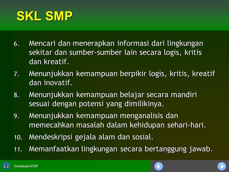 Sosialisasi KTSP SKL SMP 6. Mencari dan menerapkan informasi dari lingkungan sekitar dan sumber-sumber lain secara logis, kritis dan kreatif. 7. Menun