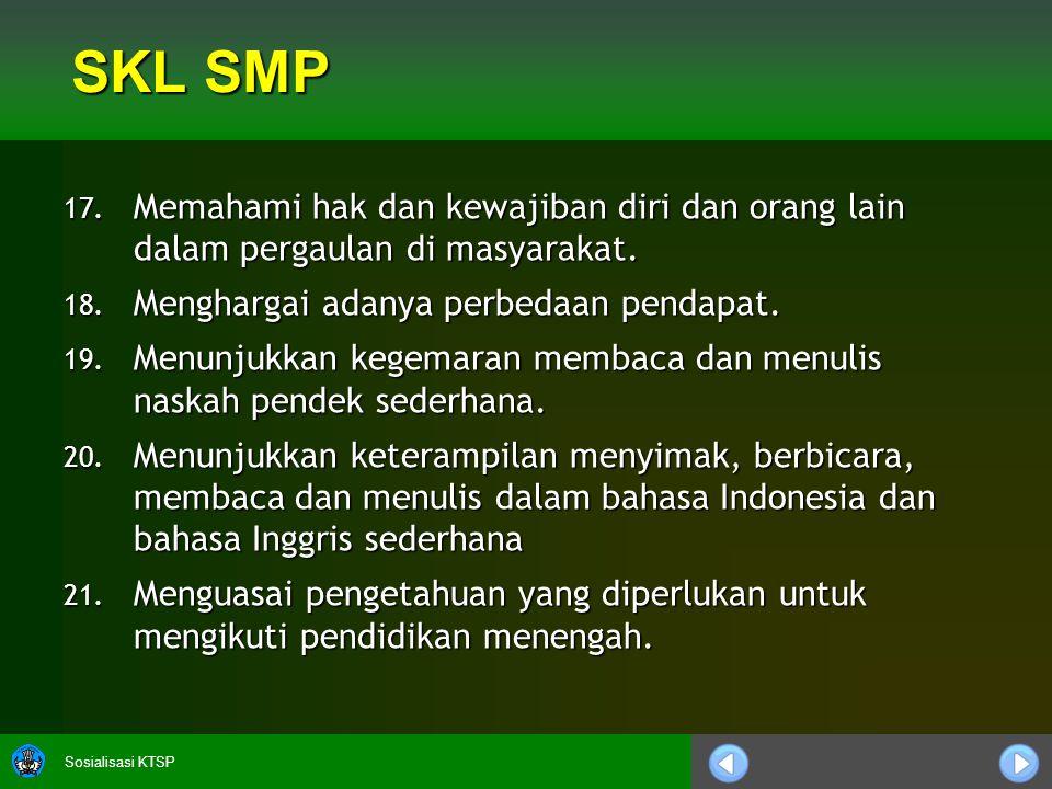 Sosialisasi KTSP SKL SMP 17. Memahami hak dan kewajiban diri dan orang lain dalam pergaulan di masyarakat. 18. Menghargai adanya perbedaan pendapat. 1