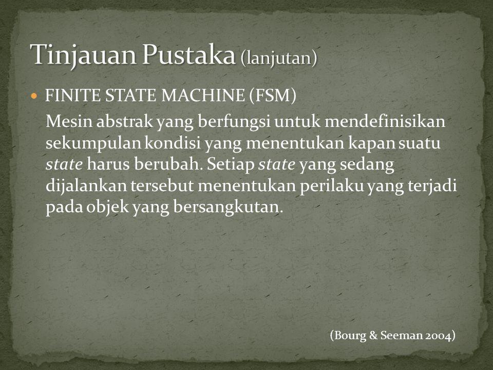 FINITE STATE MACHINE (FSM) Mesin abstrak yang berfungsi untuk mendefinisikan sekumpulan kondisi yang menentukan kapan suatu state harus berubah. Set