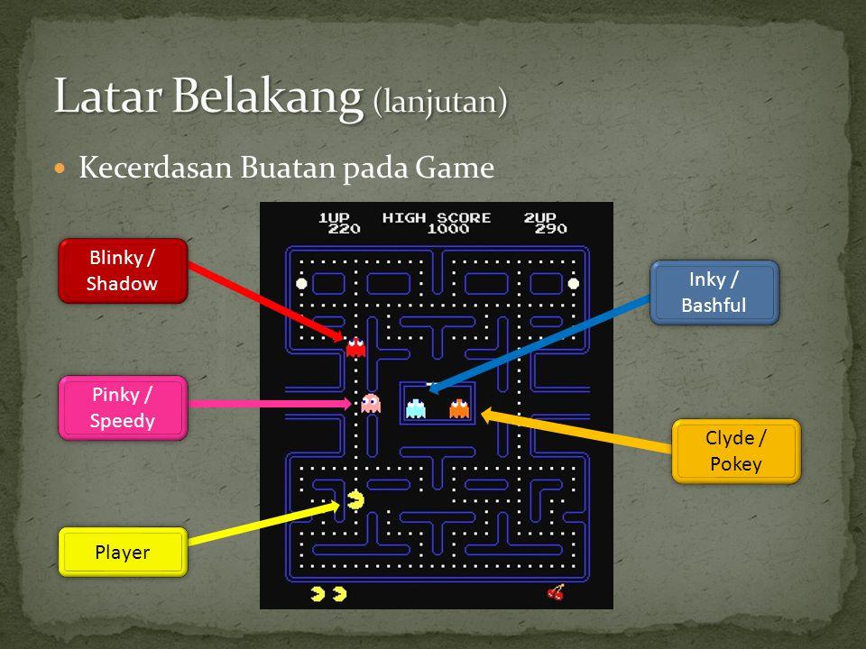  Kecerdasan Buatan pada Game Blinky / Shadow Blinky / Shadow Pinky / Speedy Pinky / Speedy Player Clyde / Pokey Clyde / Pokey Inky / Bashful Inky / B