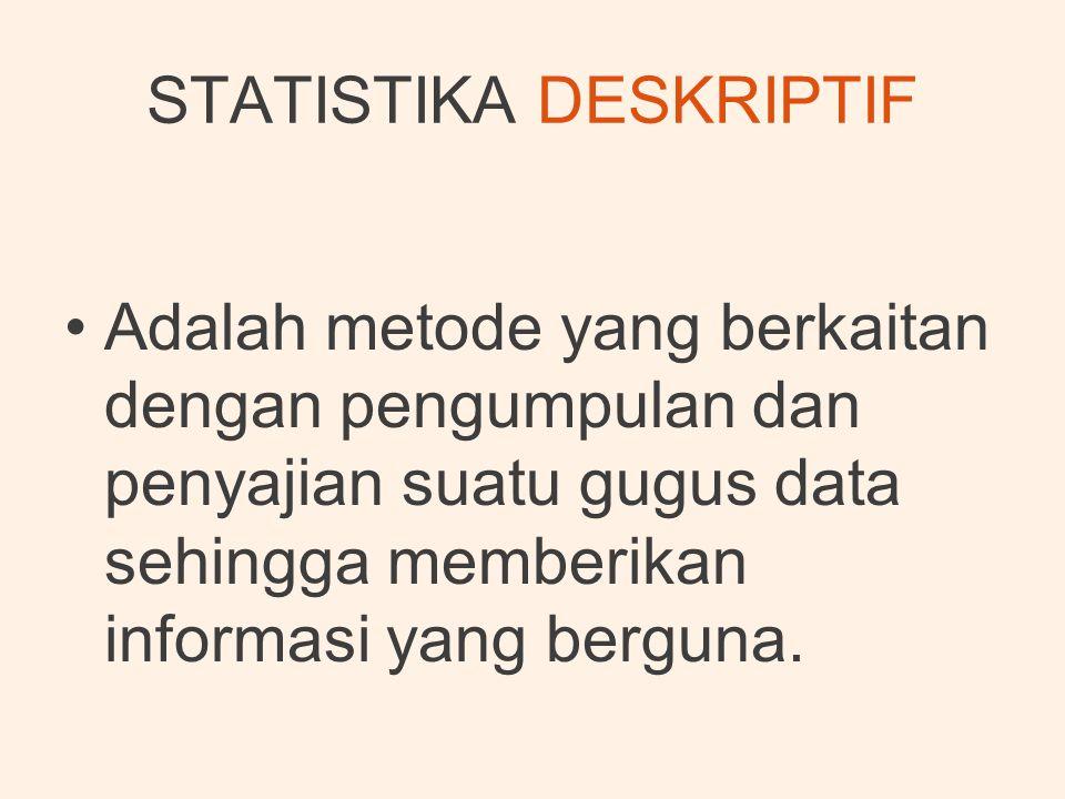 •Adalah metode yang berkaitan dengan pengumpulan dan penyajian suatu gugus data sehingga memberikan informasi yang berguna.