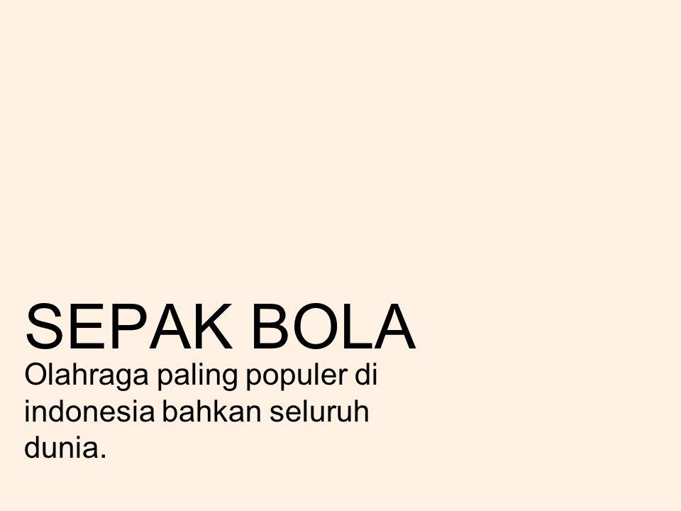 SEPAK BOLA Olahraga paling populer di indonesia bahkan seluruh dunia.