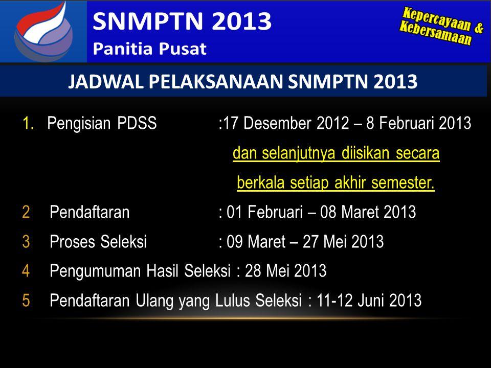 1. Pengisian PDSS :17 Desember 2012 – 8 Februari 2013 dan selanjutnya diisikan secara berkala setiap akhir semester. 2Pendaftaran : 01 Februari – 08 M