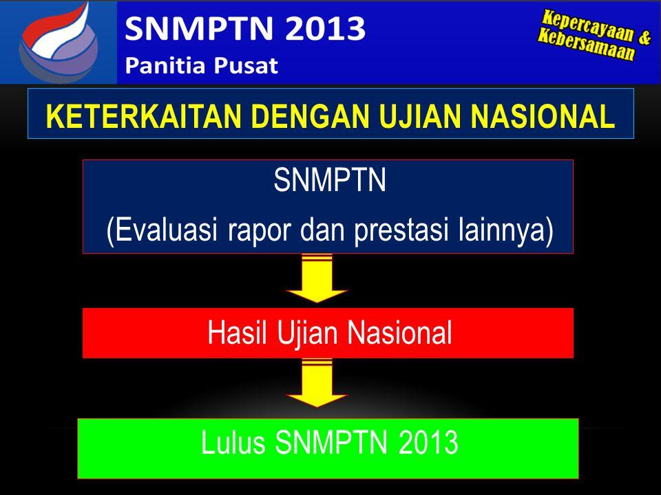 KETERKAITAN DENGAN UJIAN NASIONAL Hasil Ujian Nasional SNMPTN (Evaluasi rapor dan prestasi lainnya) Lulus SNMPTN 2013