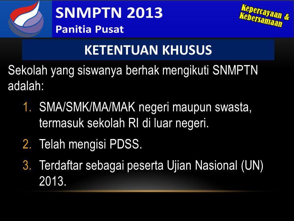 Sekolah yang siswanya berhak mengikuti SNMPTN adalah: 1.SMA/SMK/MA/MAK negeri maupun swasta, termasuk sekolah RI di luar negeri. 2.Telah mengisi PDSS.