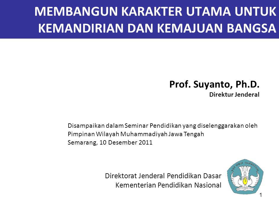 1 MEMBANGUN KARAKTER UTAMA UNTUK KEMANDIRIAN DAN KEMAJUAN BANGSA Prof. Suyanto, Ph.D. Direktur Jenderal Direktorat Jenderal Pendidikan Dasar Kementeri