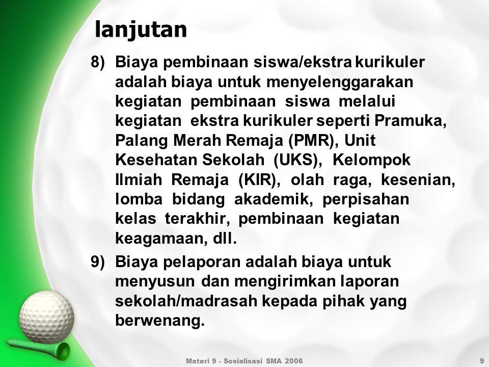 10 SUMBER BIAYA Penghitungan standar biaya operasi non personalia tahun 2009 untuk masing- masing daerahdilakukan dengan mengalikan biaya operasi nonpersonalia DKI Jakarta dengan indeks masing-masing daerah, sebagaimana tercantum dalam tabel di bawah ini.