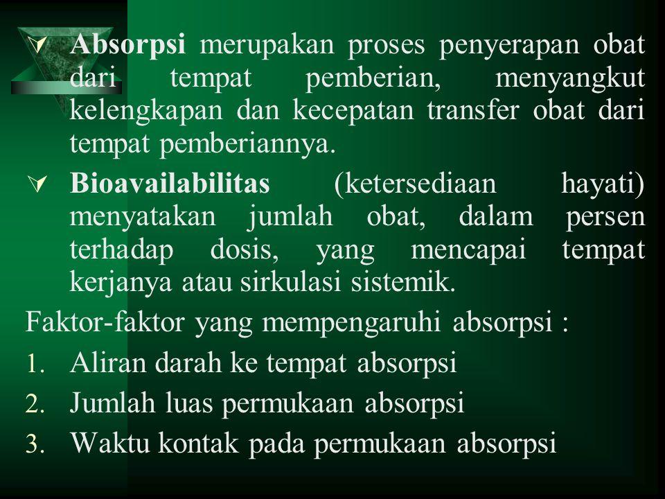  Absorpsi merupakan proses penyerapan obat dari tempat pemberian, menyangkut kelengkapan dan kecepatan transfer obat dari tempat pemberiannya.  Bioa