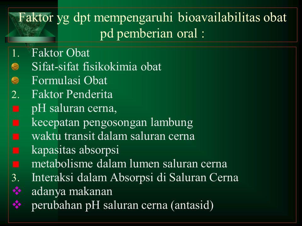 Faktor yg dpt mempengaruhi bioavailabilitas obat pd pemberian oral : 1. Faktor Obat Sifat-sifat fisikokimia obat Formulasi Obat 2. Faktor Penderita pH