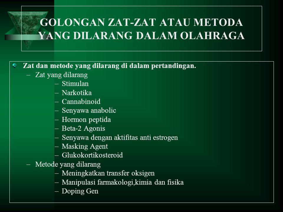 GOLONGAN ZAT-ZAT ATAU METODA YANG DILARANG DALAM OLAHRAGA Zat dan metode yang dilarang di dalam pertandingan. –Zat yang dilarang –Stimulan –Narkotika