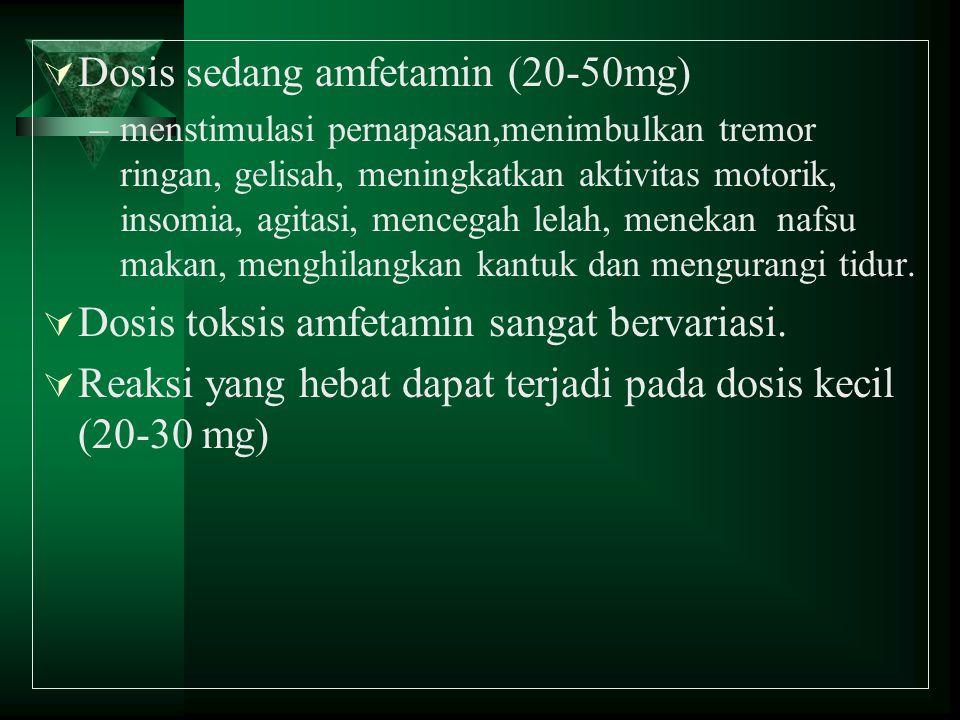  Dosis sedang amfetamin (20-50mg) –menstimulasi pernapasan,menimbulkan tremor ringan, gelisah, meningkatkan aktivitas motorik, insomia, agitasi, menc