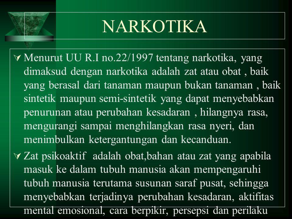 NARKOTIKA  Menurut UU R.I no.22/1997 tentang narkotika, yang dimaksud dengan narkotika adalah zat atau obat, baik yang berasal dari tanaman maupun bu