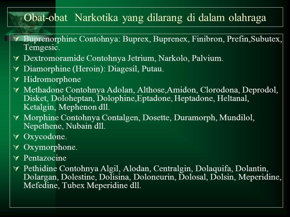 Obat-obat Narkotika yang dilarang di dalam olahraga  Buprenorphine Contohnya: Buprex, Buprenex, Finibron, Prefin,Subutex, Temgesic.  Dextromoramide