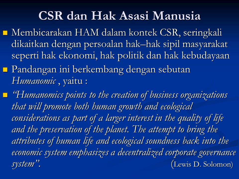 CSR dan Hak Asasi Manusia  Membicarakan HAM dalam kontek CSR, seringkali dikaitkan dengan persoalan hak–hak sipil masyarakat seperti hak ekonomi, hak