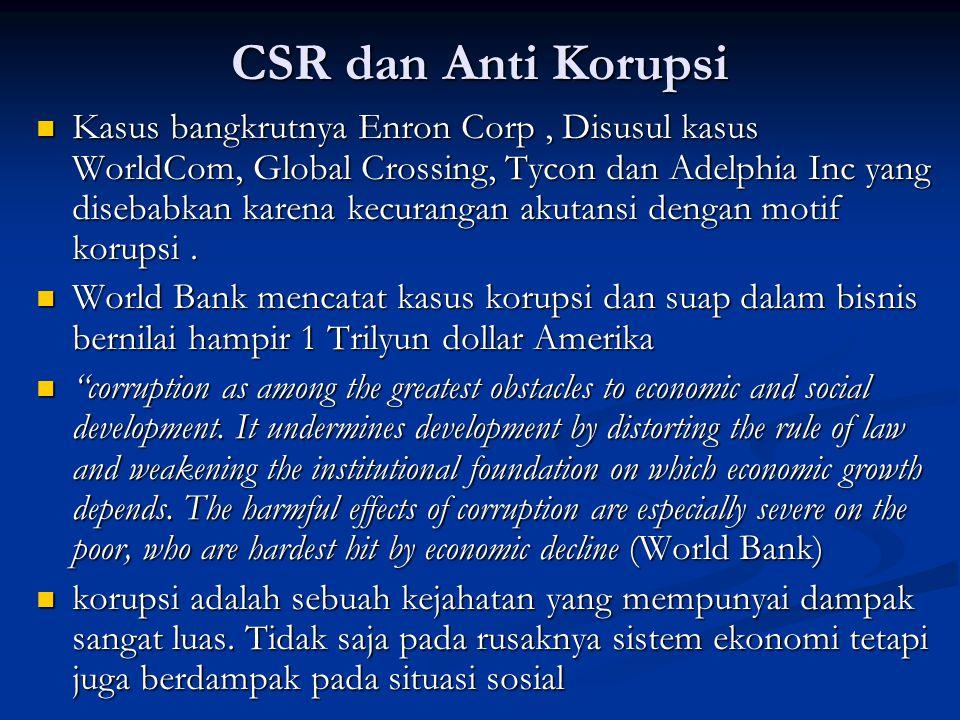 CSR dan Anti Korupsi  Kasus bangkrutnya Enron Corp, Disusul kasus WorldCom, Global Crossing, Tycon dan Adelphia Inc yang disebabkan karena kecurangan
