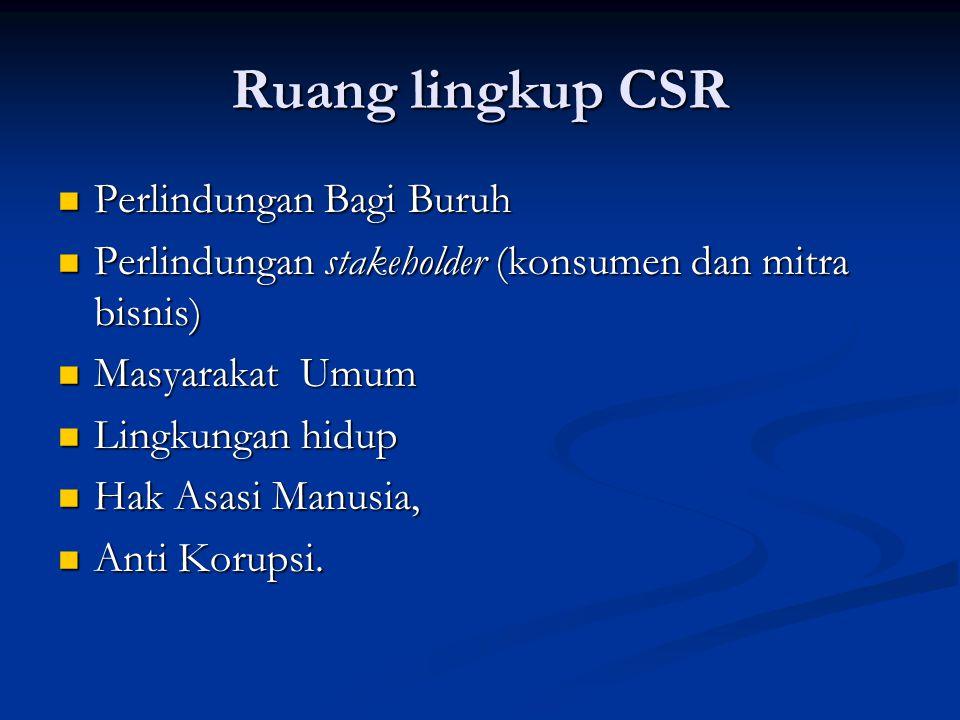 Ruang lingkup CSR  Perlindungan Bagi Buruh  Perlindungan stakeholder (konsumen dan mitra bisnis)  Masyarakat Umum  Lingkungan hidup  Hak Asasi Ma