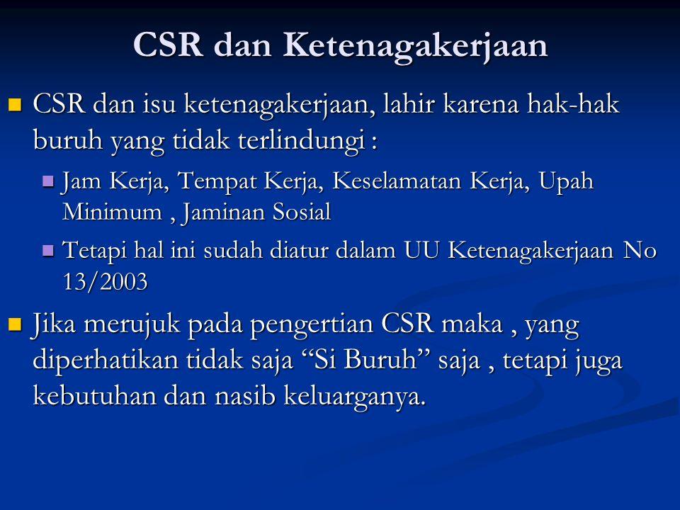CSR dan Ketenagakerjaan  CSR dan isu ketenagakerjaan, lahir karena hak-hak buruh yang tidak terlindungi :  Jam Kerja, Tempat Kerja, Keselamatan Kerj