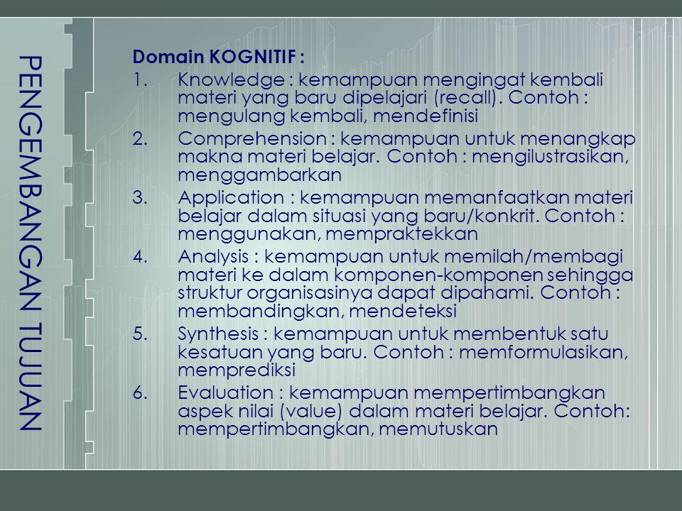 PENGEMBANGAN TUJUAN Domain KOGNITIF : 1.Knowledge : kemampuan mengingat kembali materi yang baru dipelajari (recall). Contoh : mengulang kembali, mend