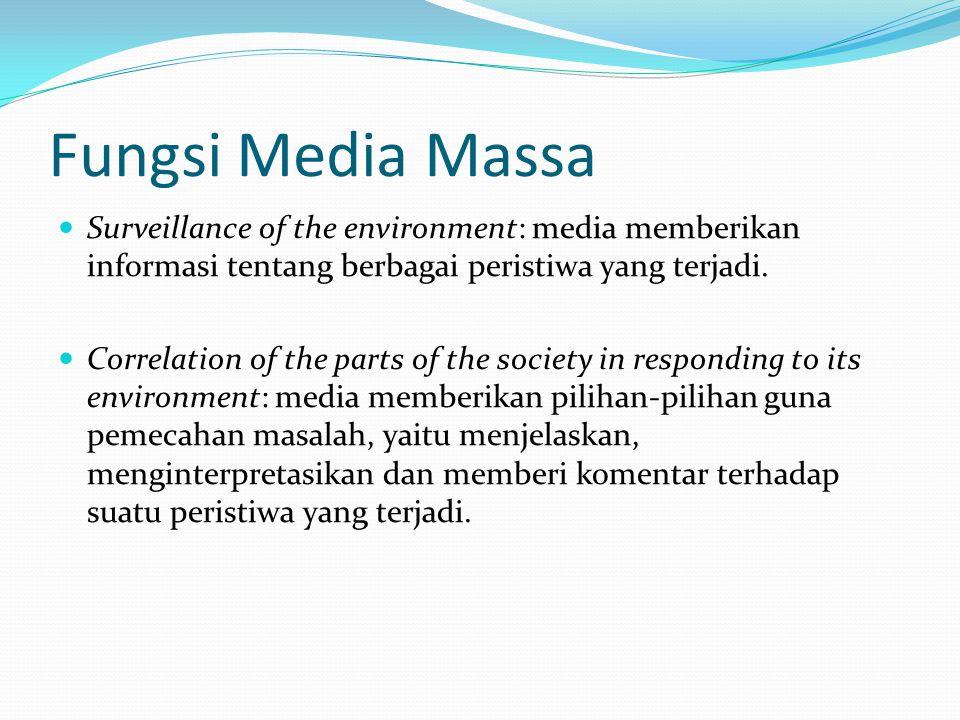 Fungsi Media Massa  Surveillance of the environment: media memberikan informasi tentang berbagai peristiwa yang terjadi.  Correlation of the parts o