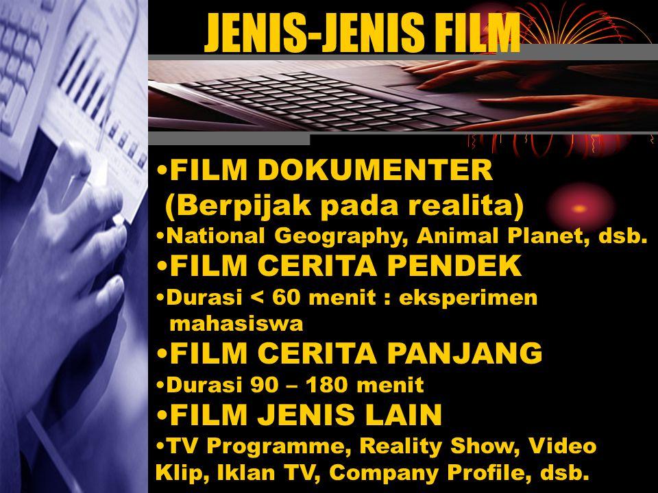 JENIS-JENIS FILM •F•FILM DOKUMENTER (Berpijak pada realita) •N•National Geography, Animal Planet, dsb.