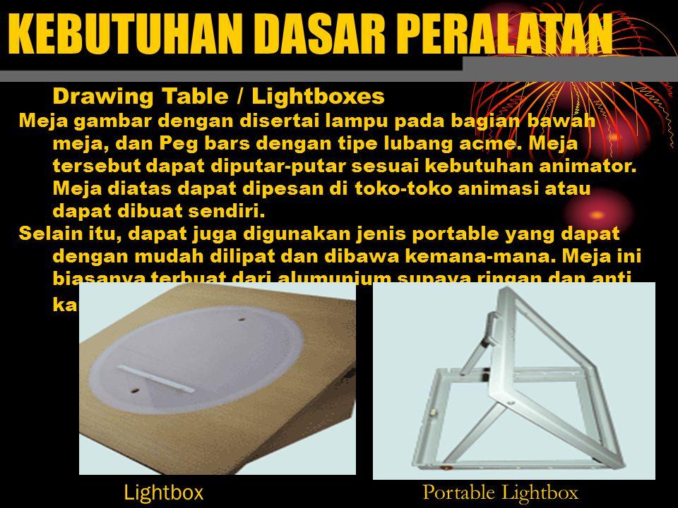 KEBUTUHAN DASAR PERALATAN Drawing Table / Lightboxes Meja gambar dengan disertai lampu pada bagian bawah meja, dan Peg bars dengan tipe lubang acme.