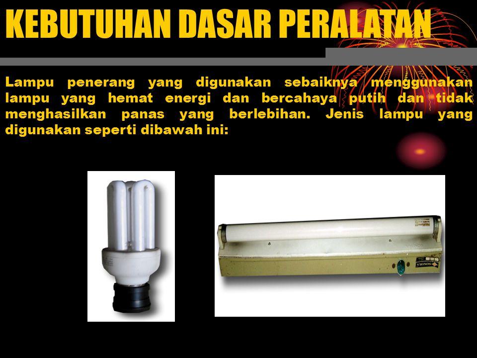 KEBUTUHAN DASAR PERALATAN Lampu penerang yang digunakan sebaiknya menggunakan lampu yang hemat energi dan bercahaya putih dan tidak menghasilkan panas yang berlebihan.