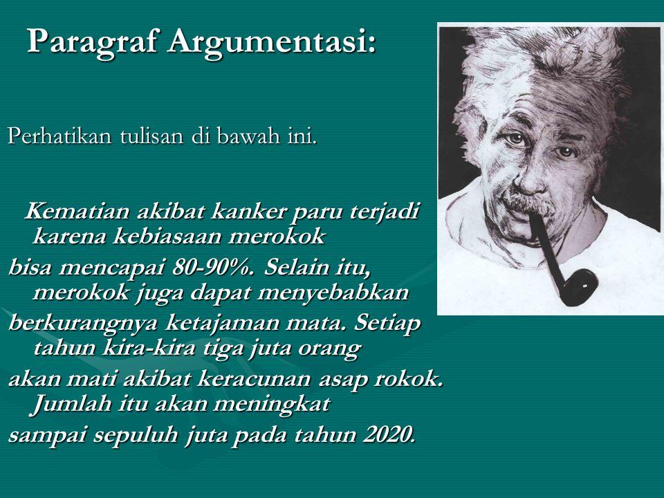 3.Berdasarkan sifat isinya: a. paragraf argumentasi b.