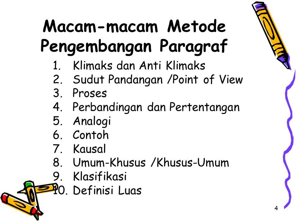 Macam-macam Metode Pengembangan Paragraf 1.Klimaks dan Anti Klimaks 2.Sudut Pandangan /Point of View 3.Proses 4.Perbandingan dan Pertentangan 5.Analogi 6.Contoh 7.Kausal 8.Umum-Khusus /Khusus-Umum 9.Klasifikasi 10.Definisi Luas 4