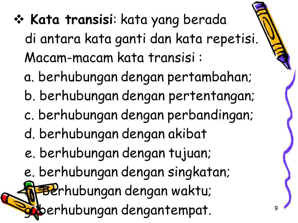  Kata transisi: kata yang berada di antara kata ganti dan kata repetisi.